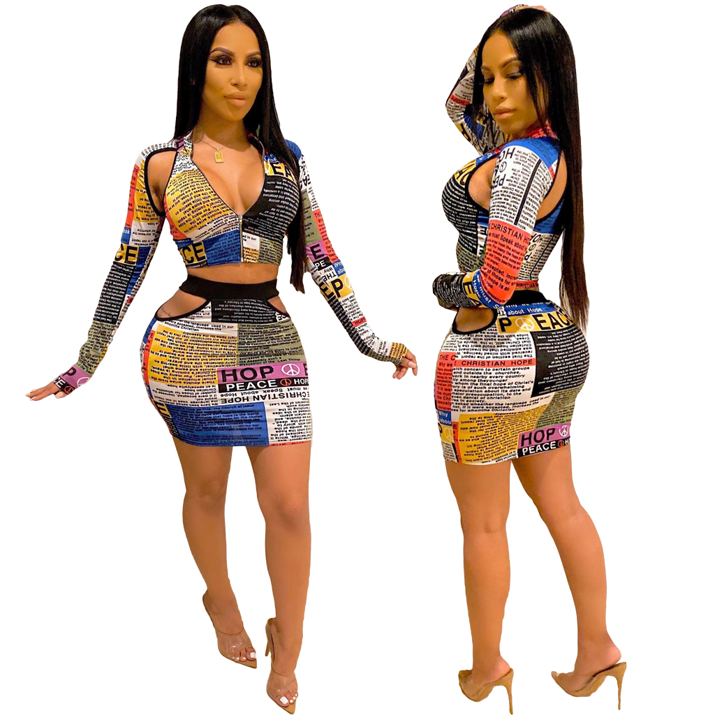 Wholesale M7263F ladies stylish newspaper hollow out skirts and <strong>zip</strong> up crop top two piece set