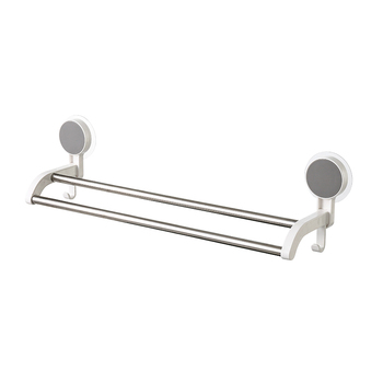Chinese Home use products wholesale double poles wall mounted stainless steel bathroom adhesive towel racks