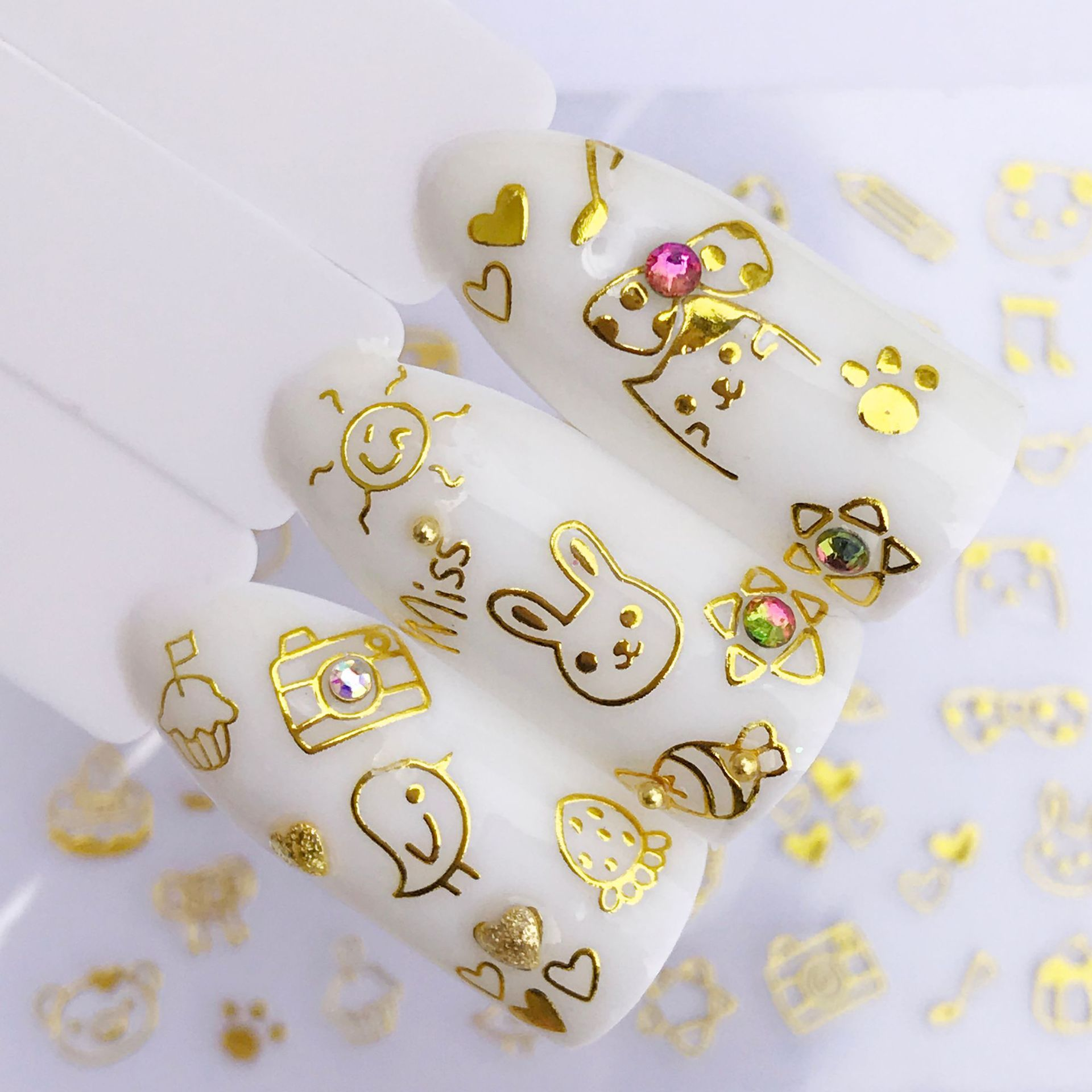 salon 3D Metal Gold Stickers Hot sale butterfly cat feather lace flower Nail Sticker Design Decal Nails Decoration Nail Art