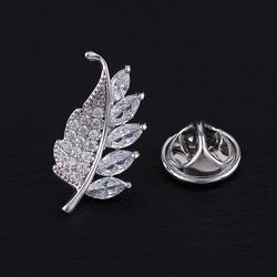 Micro-inlaid zircon fashion men's crystal leaf sma