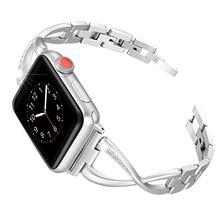 Женский ремешок для часов Apple Watch, ремешок из нержавеющей стали с бриллиантом для iwatch 5, 4, 3, 2, 1, 38 мм, 42 мм, 40 мм, 44 мм(China)