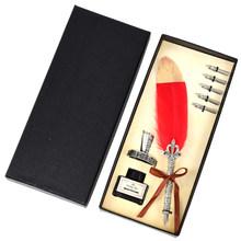 1 комплект, винтажная каллиграфическая перьевая ручка + 2/5 перо, пишущие чернила, перьевая ручка, набор, канцелярские принадлежности в стиле ...(Китай)