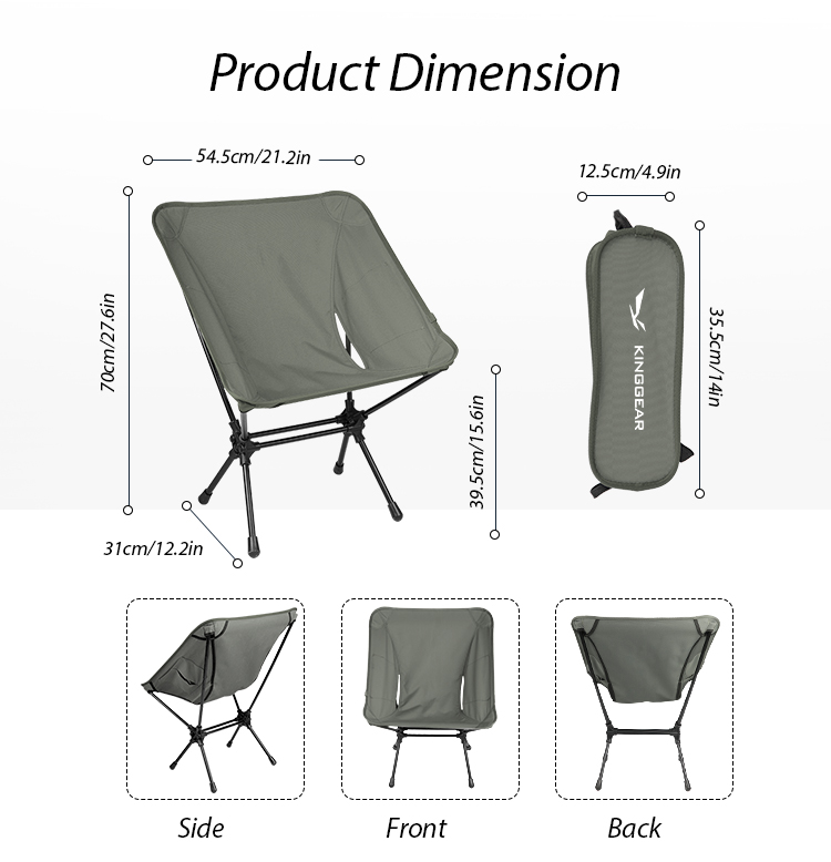 Small Beauty Cheap Folding Moon Garden Picnic Camping Fishing Chair With Aluminum 7075 Frame