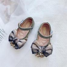 2020 новые детские элегантные сандалии из искусственной кожи для принцессы, свадебные вечерние туфли с бантом для девочек(China)