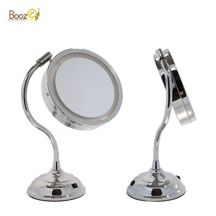 Gebogene schaft personalisierte make-up spiegel doppel seiten und metall rahmen LED standing Kosmetik 1X 10x vergrößern make-up spiegel
