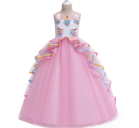 Fashionable Summer Baby Wedding Birthday Dress Girls Tulle Puffy Unicorn Party Dress