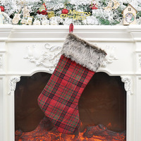 Large Christmas Stockings Gifts Cloth Santa Socks Xmas Lovely Gift Bag For Children Fireplace Tree Christmas Decoration