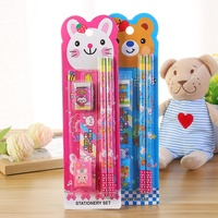 Children's Pencil Eraser Gift Box Bunny Blister Card Packaging School Learning Prizes Stationery Set