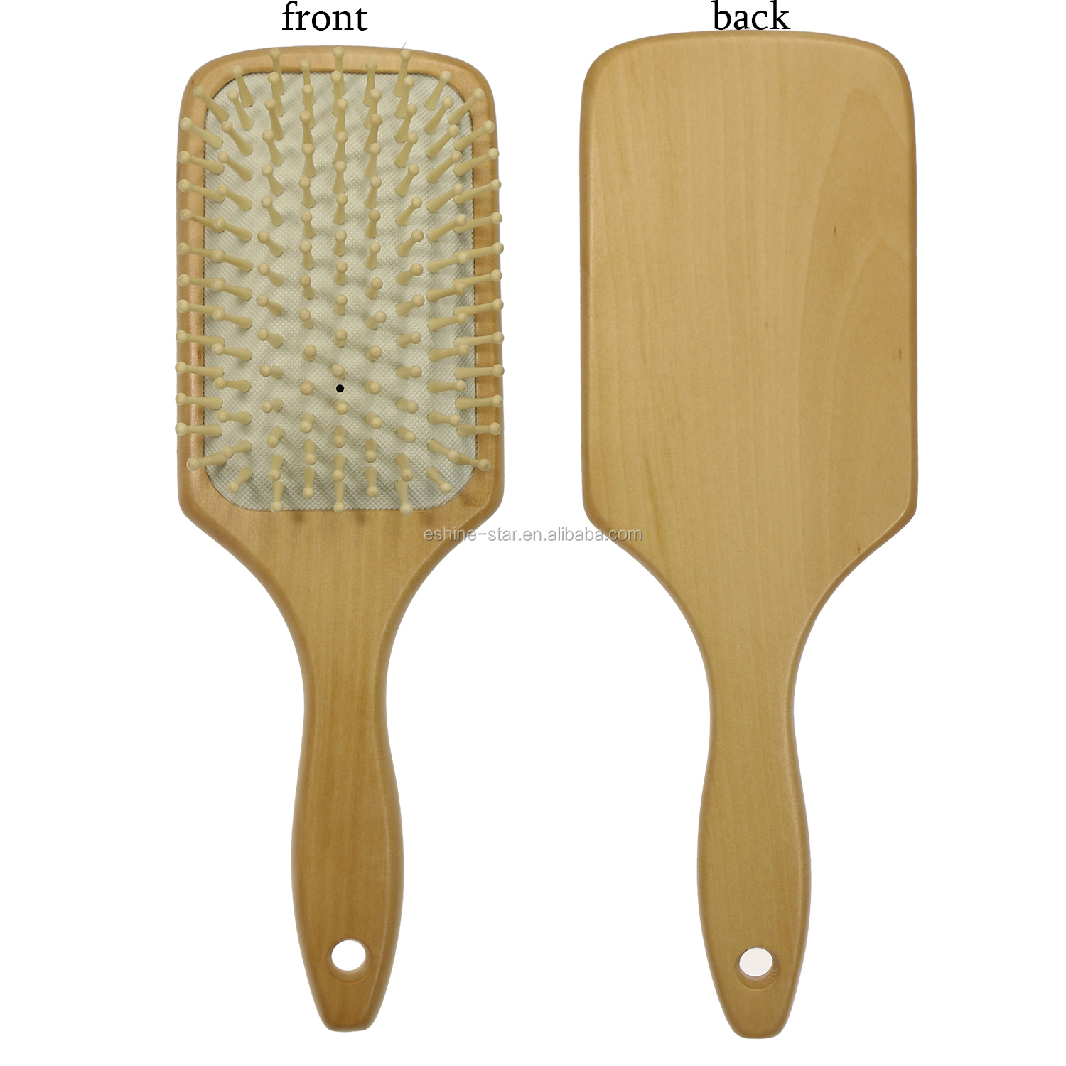 square size natural wooden hair brush paddle and cushion wood hair brush