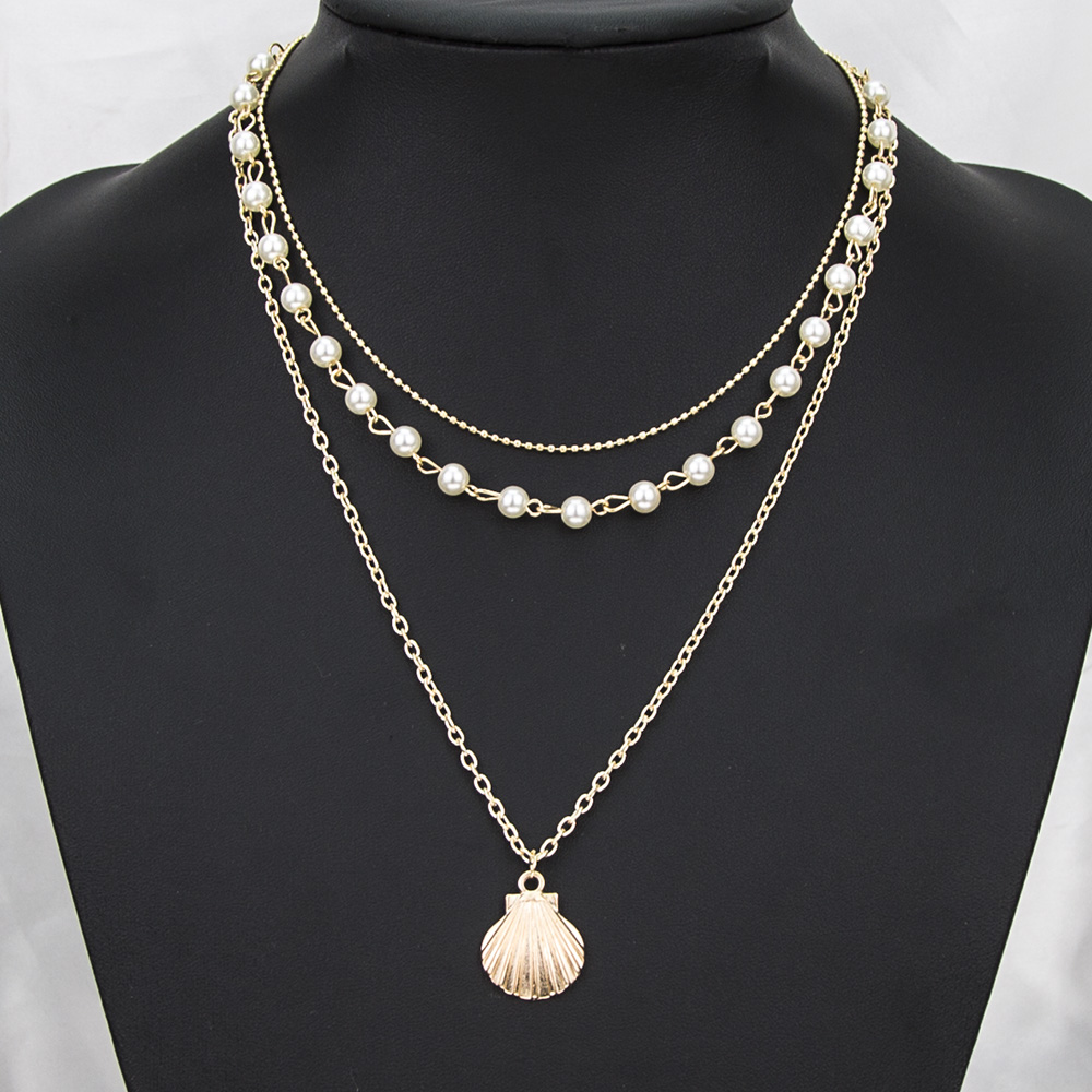 High quality necklace jewelry simple beads chain pearl clavicle chain fashion bohemia alloy scallop pendant necklace 3 layer set