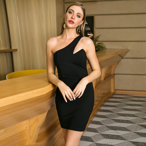 Sexy Black Dresses One Shoulder Strapless Asymmetrical Black Tube Bodycon Club Dress
