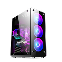 Atx pc benutzerdefinierte horizontale front panel lcd mit power versorgung transparent glas led gaming Computer Fall