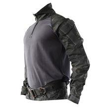 Уличная износостойкая тактическая рубашка с длинными рукавами, летняя боевая рубашка для мужчин-(черный, только Топ) S/M/L/XL/XXL(Китай)