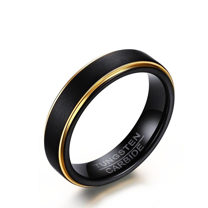 Custom Design de Moda Jóias de Tungstênio de Aço dos homens de Material Fosco Escovado Preto Anéis de Ouro Para Homens