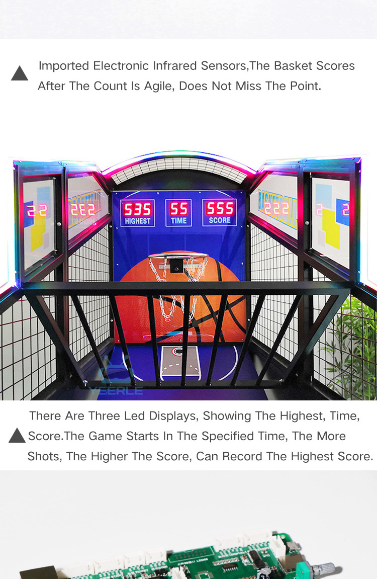 Indoor crazy hoop basketball training coin operated arcade game street basketball shooting machine for sale