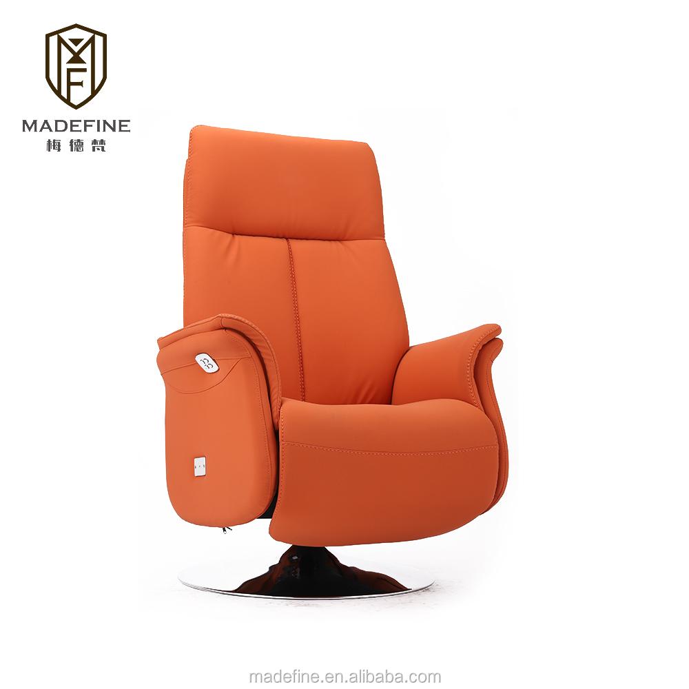 MADEFINE 81872 Orange PU chaises longues en cuir unique pellissima canapé inclinable