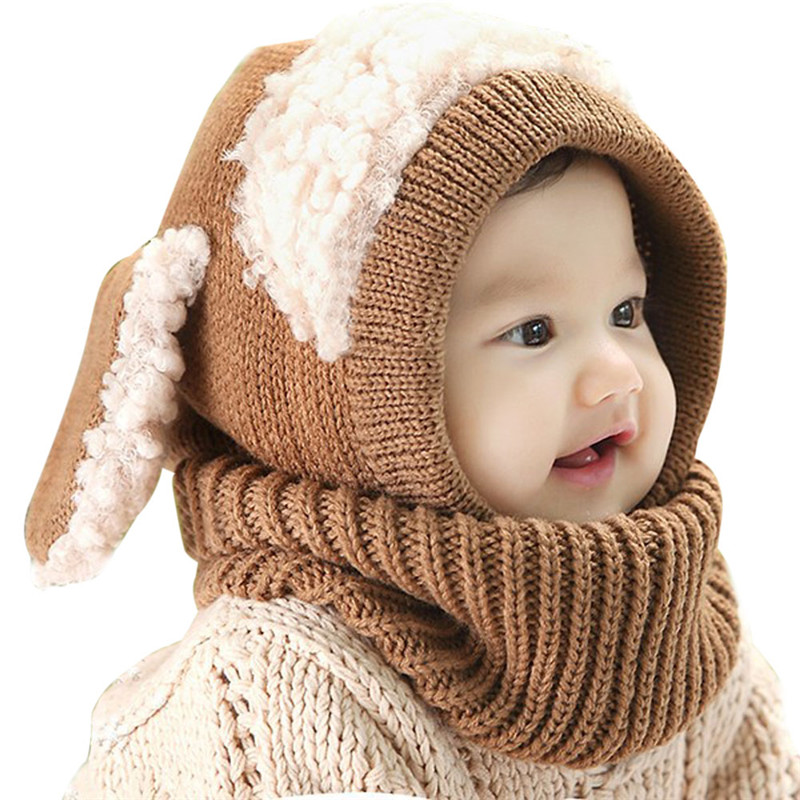 Baby cute knitted wool hat one-piece scarf winter warm children's hats and scarfs