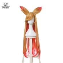 ROLECOS Ahri Звездная защитница Косплей головные уборы LOL Ари косплей волос с ушами 90 см длинные женские волосы термостойкие синтетические(Китай)