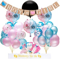 Umiss 64pcs Gender Reveal Supplies, Boy or Girl Banner Boys Girls Birthday Party Decorations Baby Shower