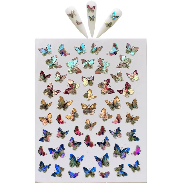 Wholesale Supplies adhesive 3D butterfly <strong>Nail</strong> Decal holographic <strong>nail</strong> <strong>sticker</strong>