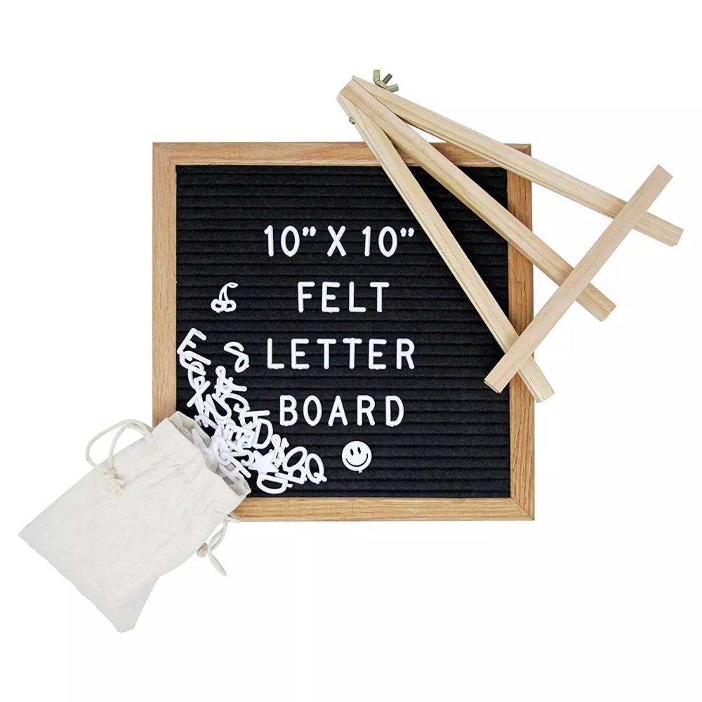 10x10 inch Oak <strong>Wood</strong> Changeable Letter Board Sign Craft for Business birthday gifts
