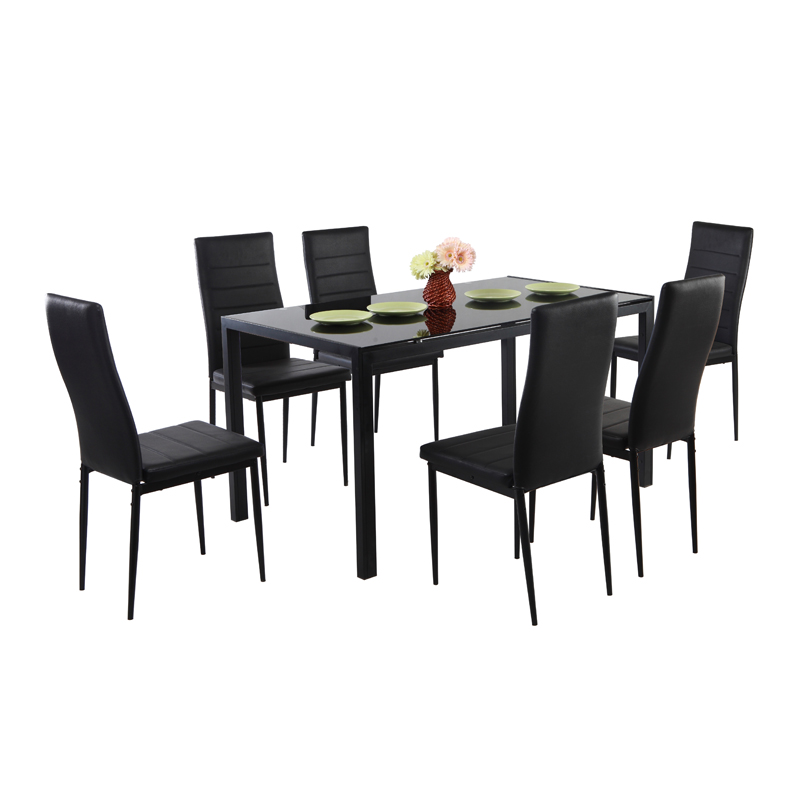 Modern design home furniture dining room dining sets with 1glass table 6 chairs