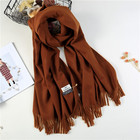 Ladies fashion knitted warm long thick shawl wraps plain wool cashmere pashmina winter scarf