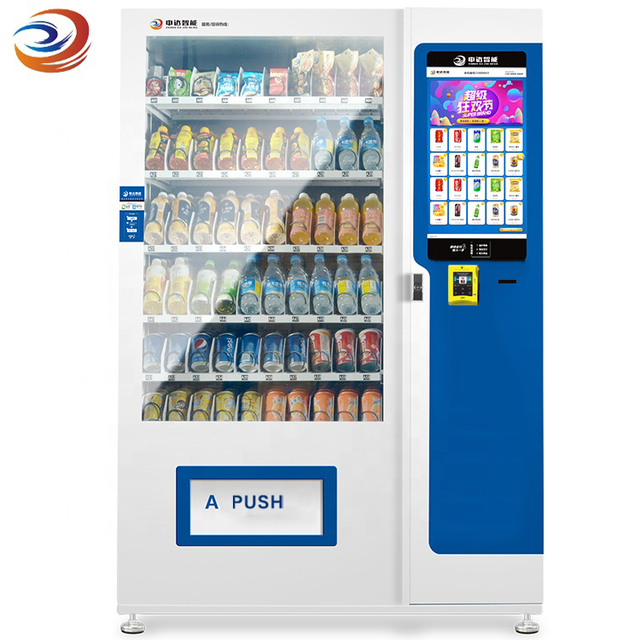 Touch screen self-service payment vending machine selling snacks and drinks automatically