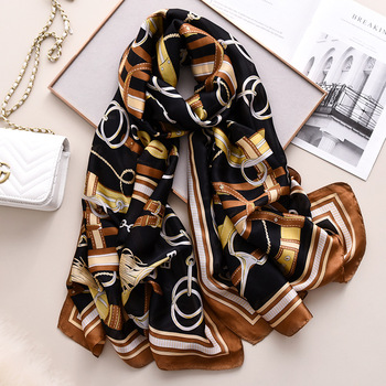 Wholesale 2020 latest women silk scarf classical leather and chain pattern print silk scarf wholesale china
