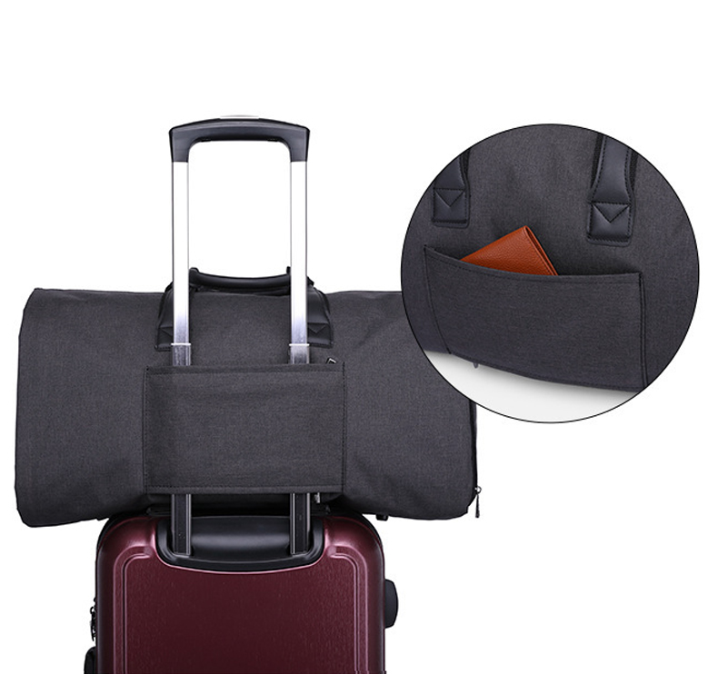 Custom 600D polyester Folding Business Travel Bag Detachable Garment Suit Rolling Duffle bag