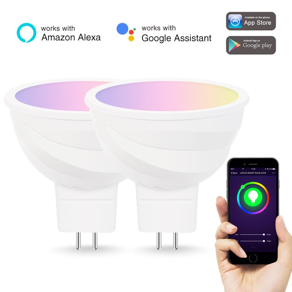 Smart Spot Light Bulb 5W MR16 GU5.3 RGBW Wifi Bulb LED <strong>Spotlight</strong> via Tuya APP Alexa Google Home
