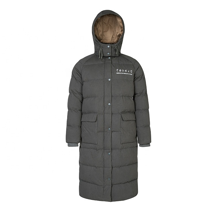 Grey Custom Logo China School <strong>Winter</strong> Heated Coat Long <strong>Mens</strong> Down <strong>Jacket</strong>