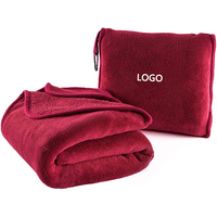 All Season Comfy 2 In 1 Flannel Fleece Blanket Fold Into A Soft Pillow Travel Blanket