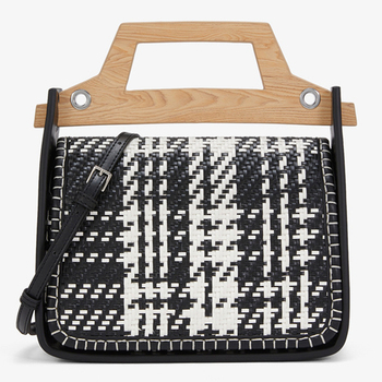 wholesale wood handle weaving stitch ladies black hand tote bags elegant women handbag purse
