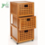 3 Tiers Bamboo Wooden Storage Cabinet with 3 Drawers