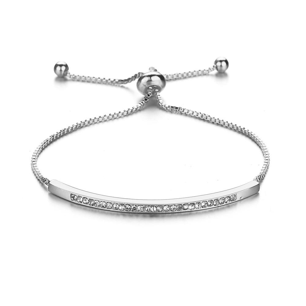 Fashion RTS simple style women rhinestone bracelet silver plated jewelry chain bracelet