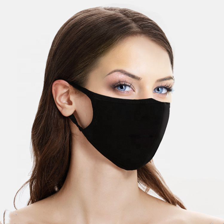 Wholesales Custom Reusable 3 Ply Black Cotton Facemask For Adult