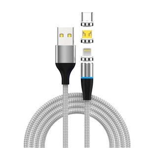 2019 Durable Braided Nylon High Speed Magnetic USB 5A Charging Fast Charger Data Cable with LED Light