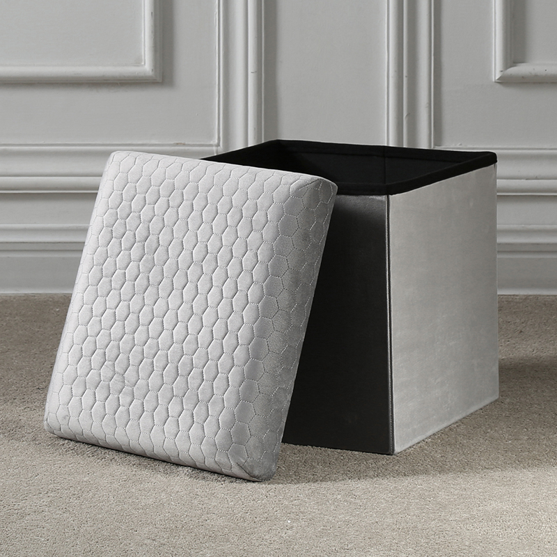 Reatai beautiful special colorful velvet chair ottoman for bedroom colth storage luxury folding storage stool ottoman box