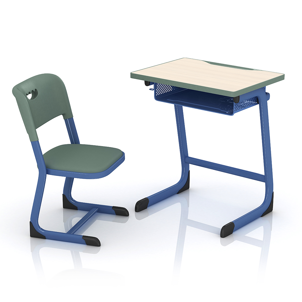 Modern metal drawer fireproof ergonomic student middle school desk and chair set