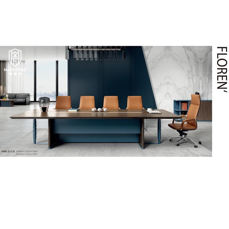 MADEFINE FH02 Professionnel haut de gamme Table de Salle de conférence Moderne Table En Bois Massif De Luxe Longue Table de Réunion