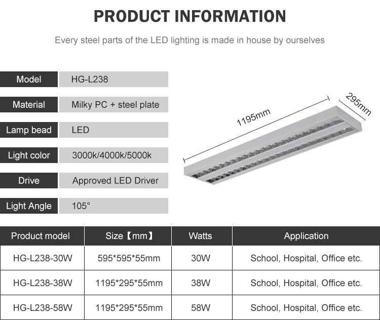 Halcon hospital hotel dimming 30w 38w 58w led pendant lamp