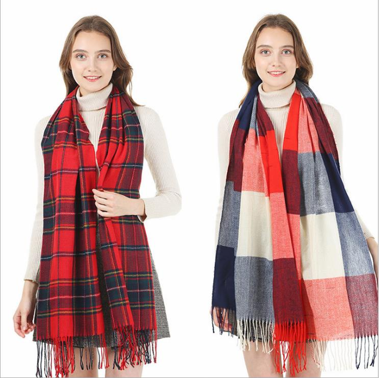 Womens Winter Plaid Checked Shawl Cape Tartan Blanket Oversized Scarf