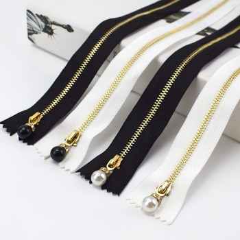 Deepeel ZA031 3# 70cm DIY Sewing Garment Accessories Gold Teeth Single Open-End Pearl Zipper Sliders Metal Zipper