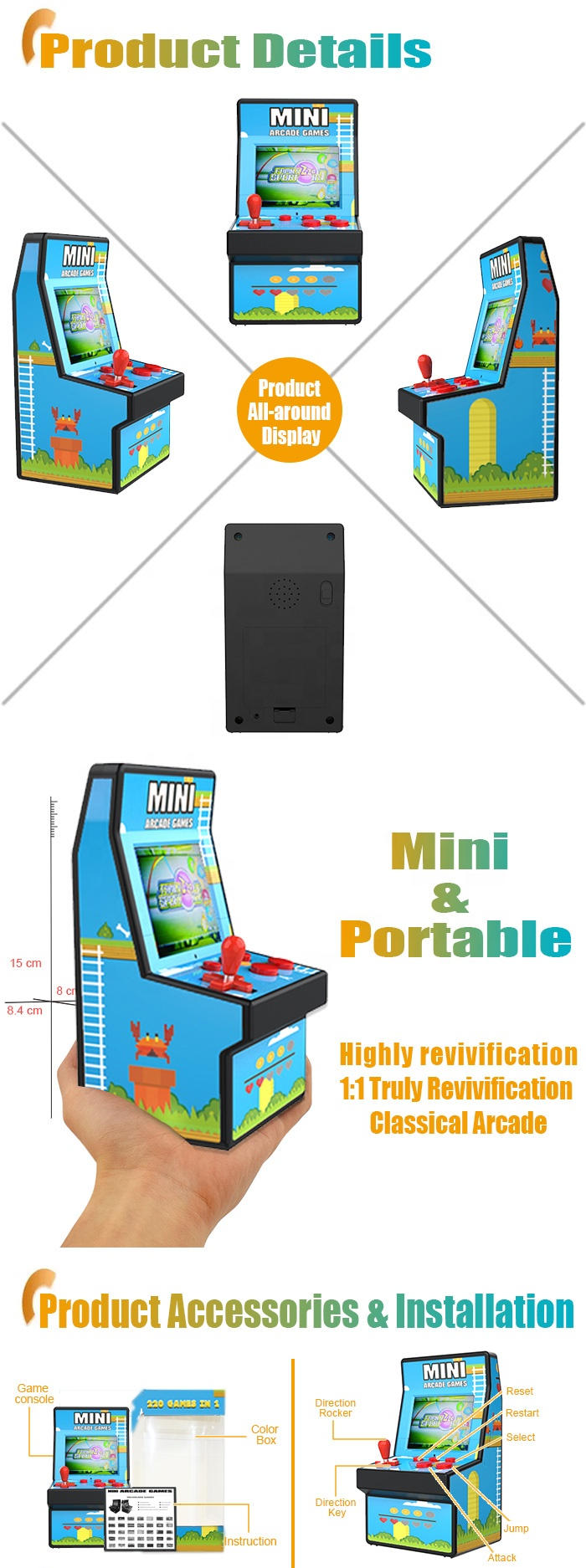 CT882X Hot Item Best Gift 16 Bit Handheld Game Console Player