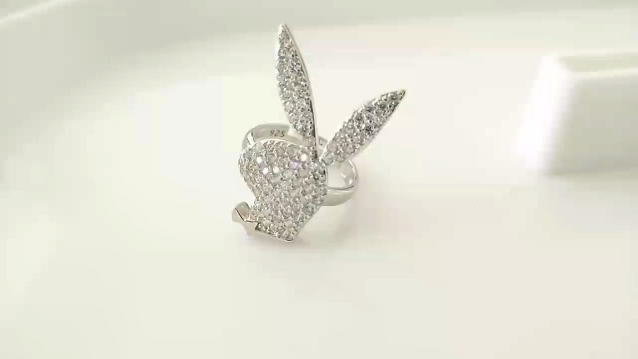 Fashion Perhiasan 925 Sterling Perak Adjustable Pave Berlian CZ Hewan Perhiasan Kelinci Kelinci Cincin Wanita