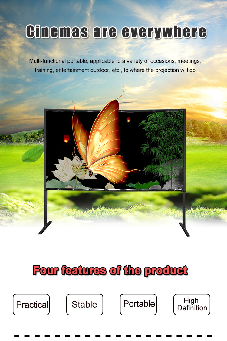 Futures Screen 100 Inch Simple Indoor Outdoor Fast Fold Projector Screen With Carry Bag
