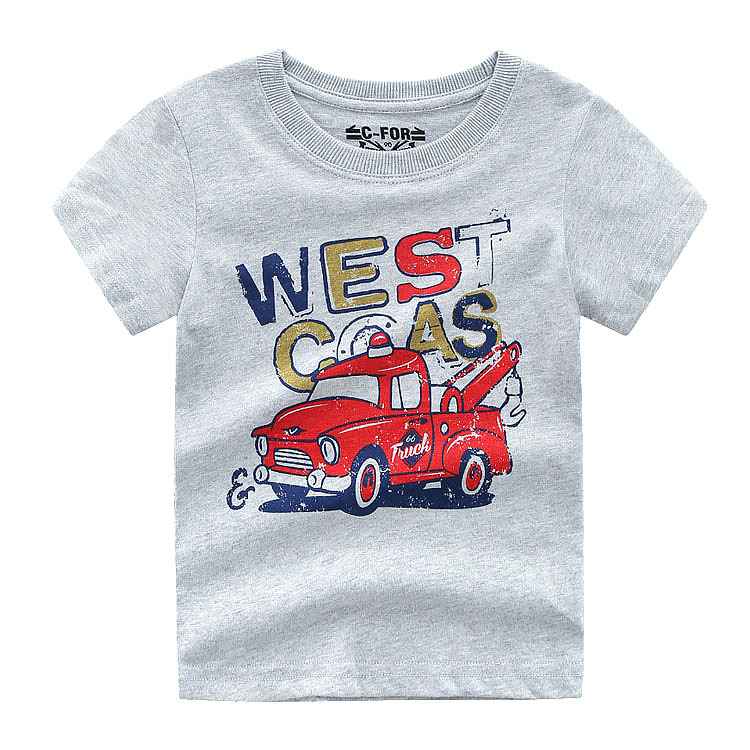 Plain Printed Cartoon Car Children's Custom Knitted Cotton Kids Boys Wearing T Shirts
