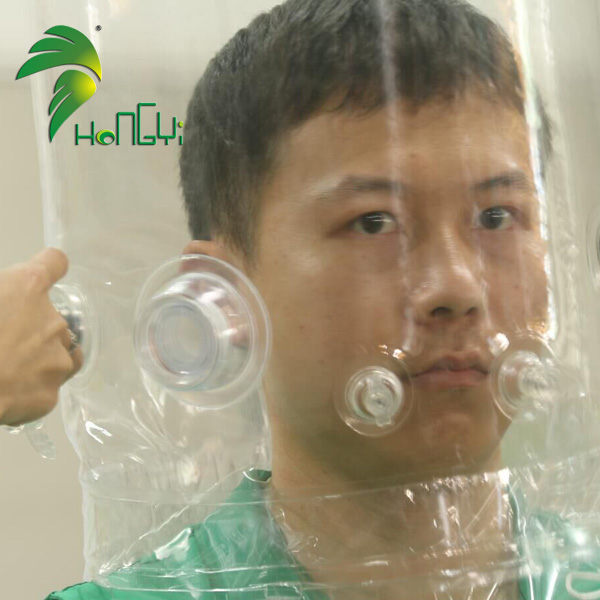 Newest PVC Clear Air Inflatable Isolation Hood Medical Head Cover Hat