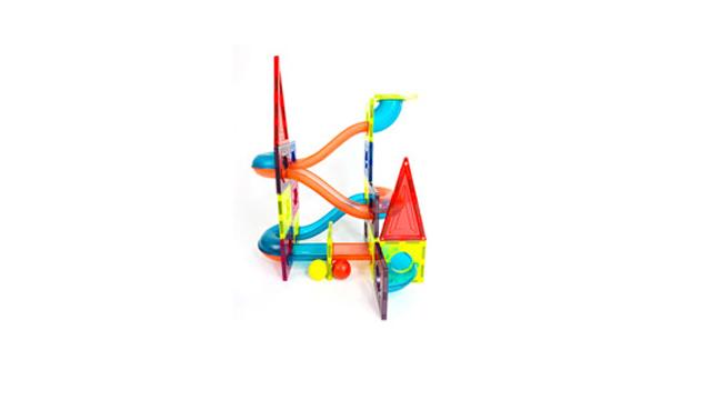 Magnetic Car Race Track STEM Roller Coaster Color Marble Running Tiles